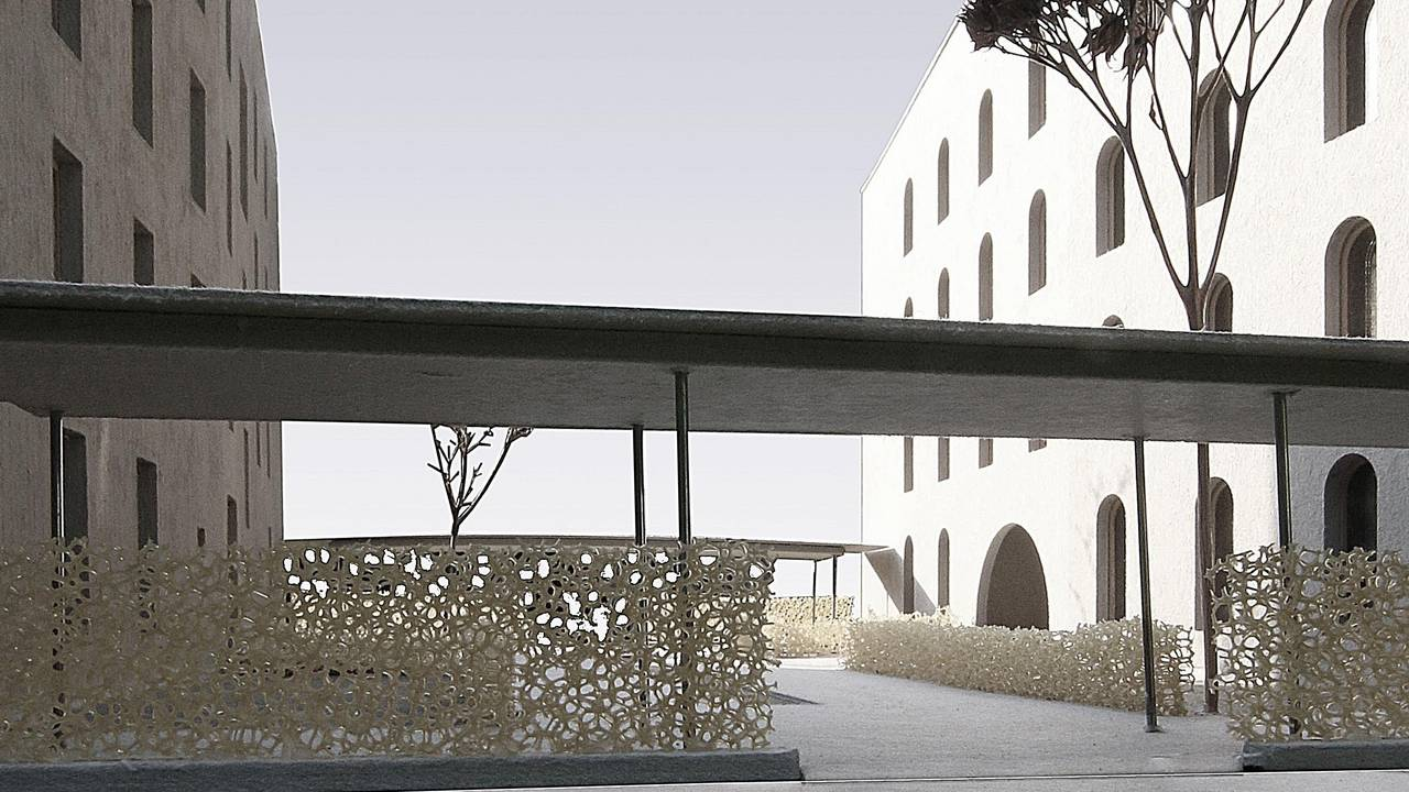Model of the courtyard between the houses from solid wood and lightweight concrete.