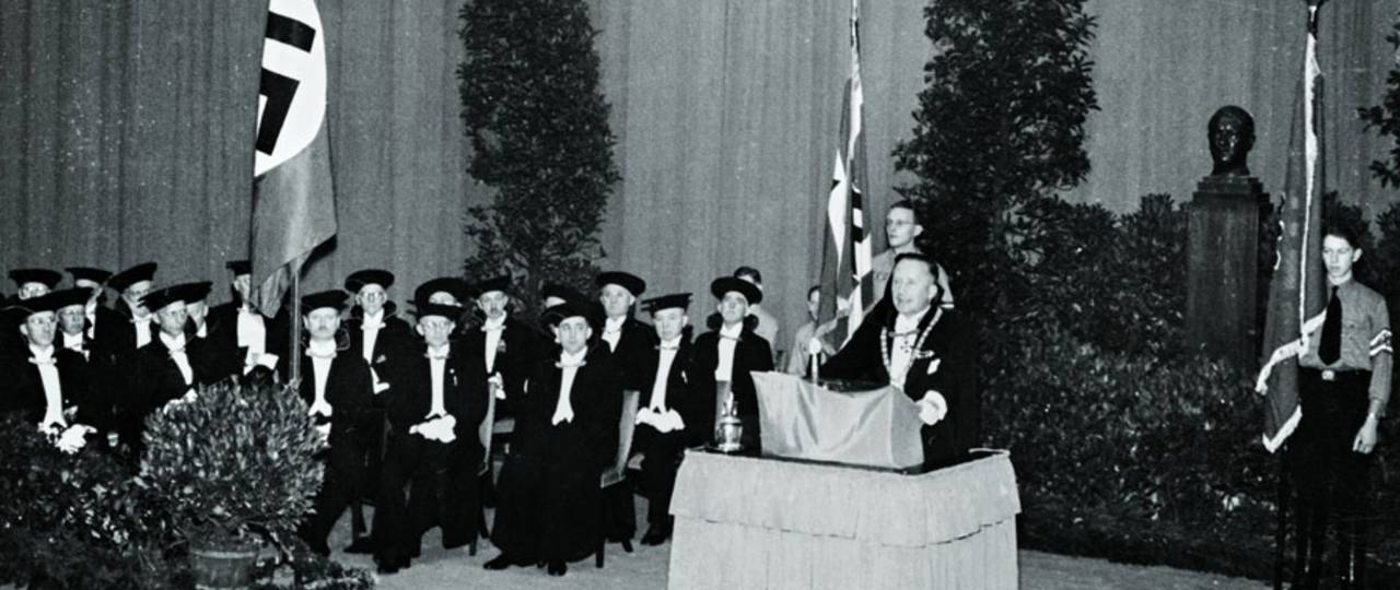 THM Rector Lutz Pistor at the Dies academicus, the annual academic celebration, 1940.