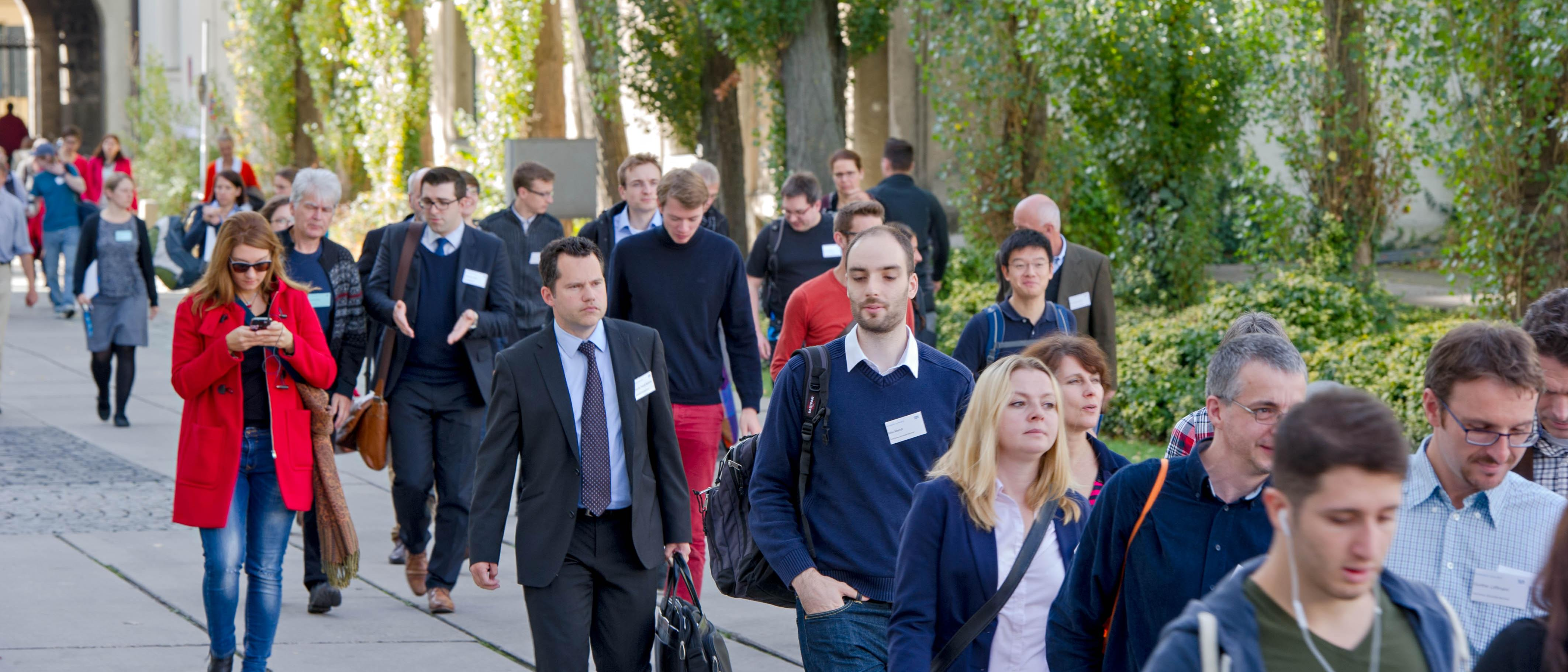 Participants of the Teaching Symposium take a stroll around the campus