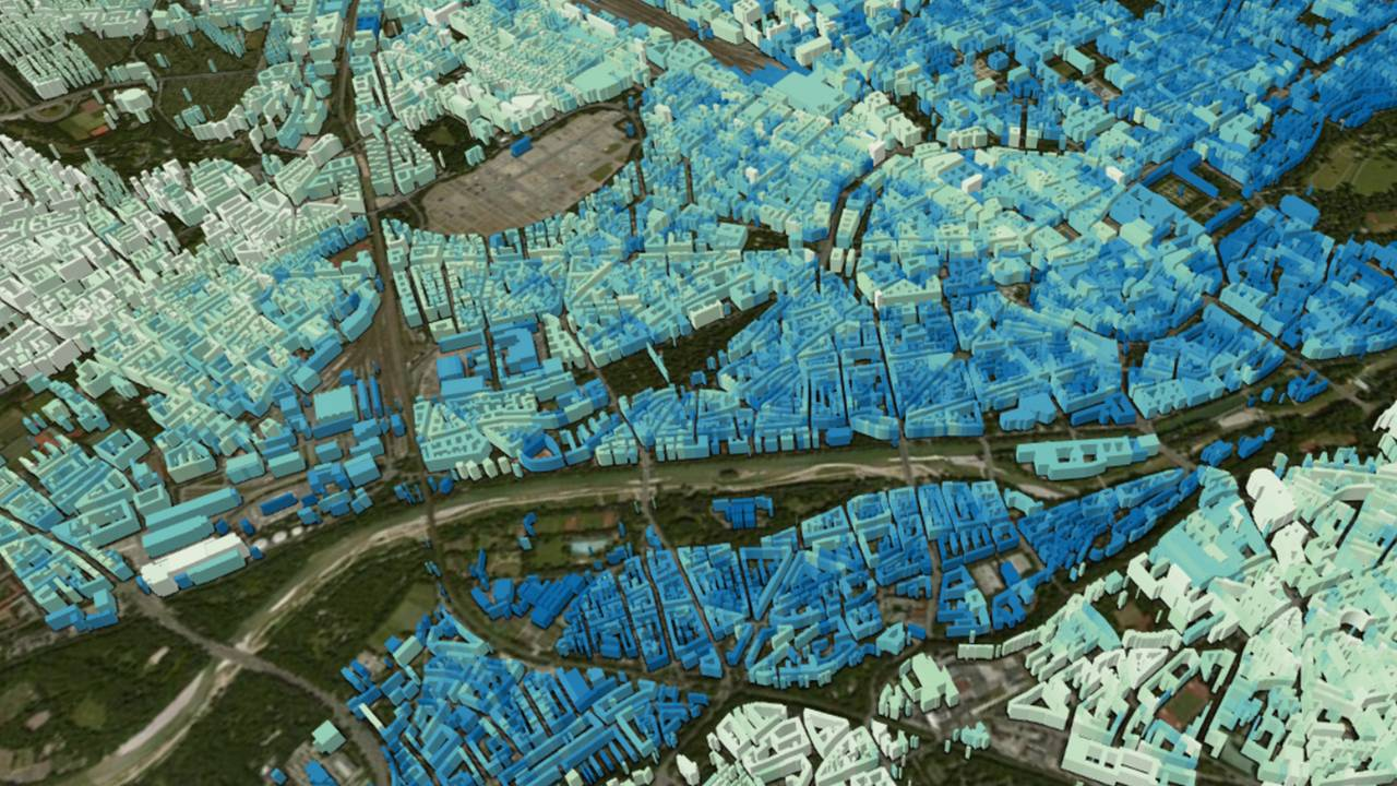 This image shows a section of a global 3D model of urban areas and was generated primarily using TanDEM-X Satellite data. To create this model for all cities in the world, sophisticated AI procedures are used.