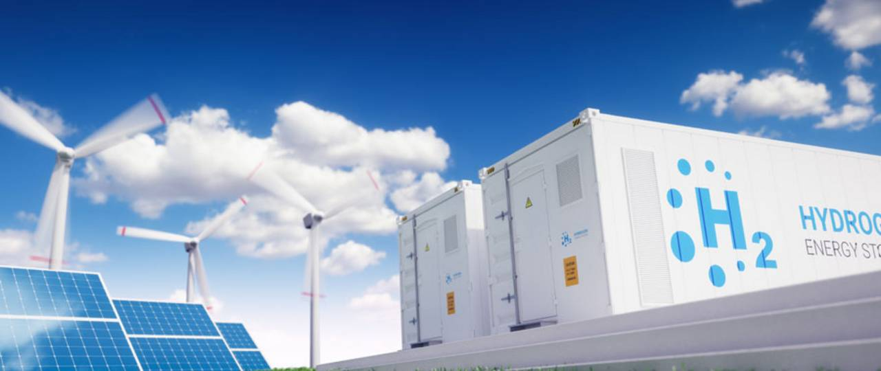 Wind turbines, solar modules and hydrogen storage systems