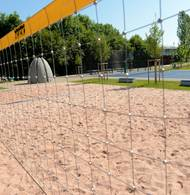 Beachvolleyball in Garching: Die neue Sportanlage am TUM-Campus. (Foto: Michael Höhne)