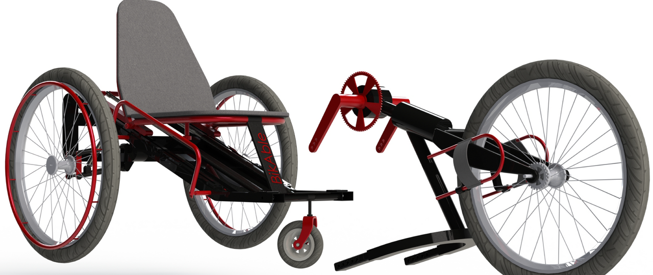 The new design combines the functions of sports equipment and wheelchair.