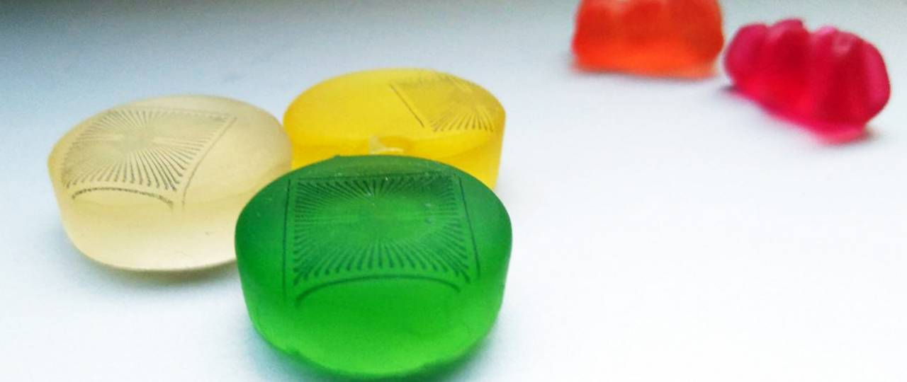 Microelectrode arrays printed on gummy candy.
