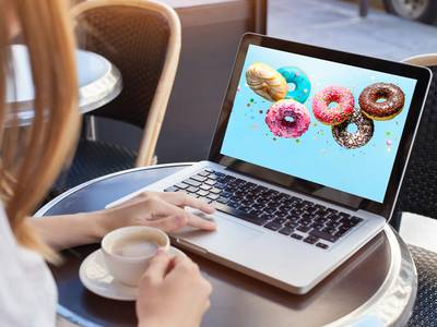Donuts on laptop screen