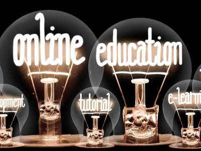 "Light bulbs and lettering ""Online Education"""
