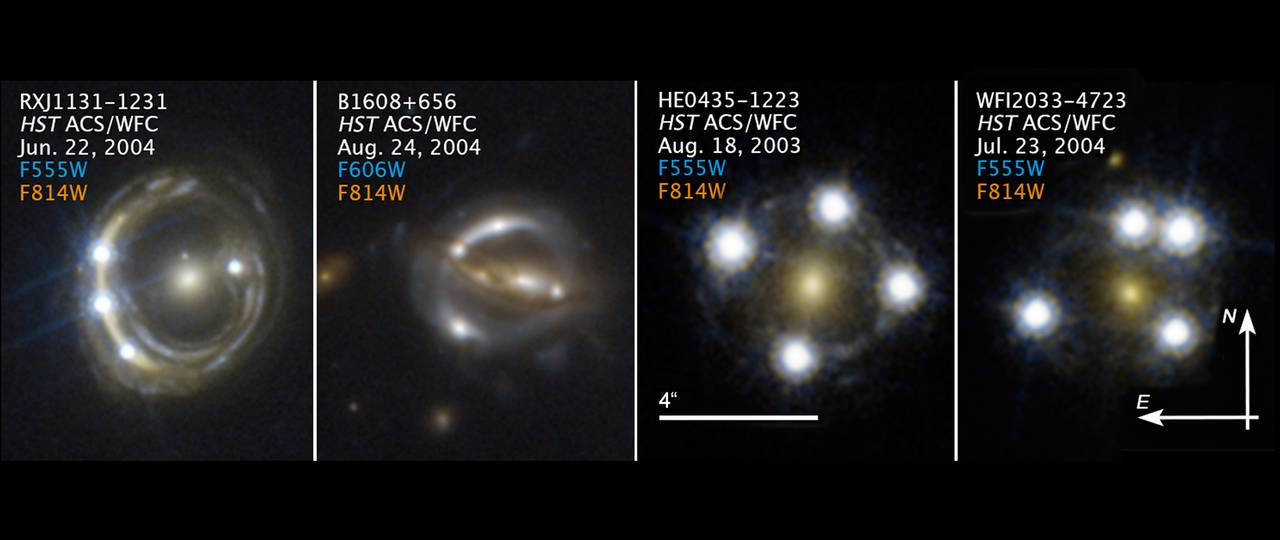 Hubble Space Telescope images of faraway quasars lensed by foreground galaxies that were used to measure the Hubble constant. (Image: S.H. Suyu / TUM/MPA; K.C. Wong / Univ. Tokyo; NASA; ESA)