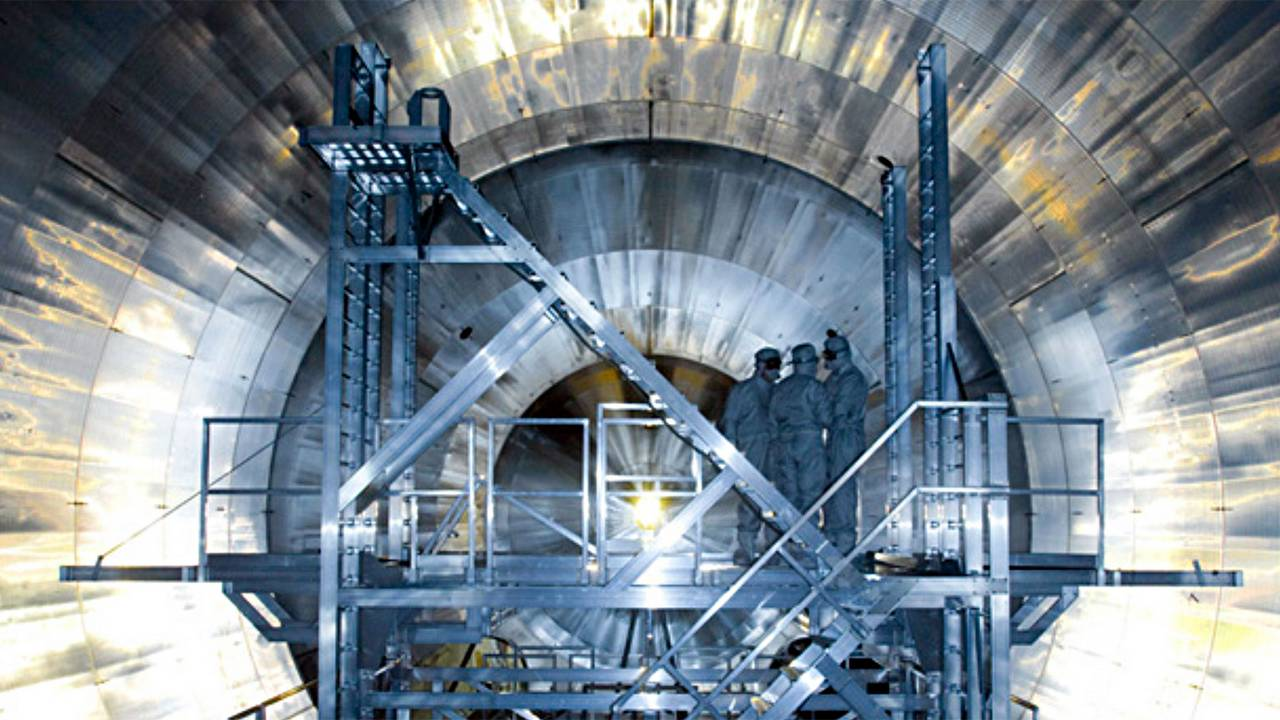 A view inside the KATRIN experiment.