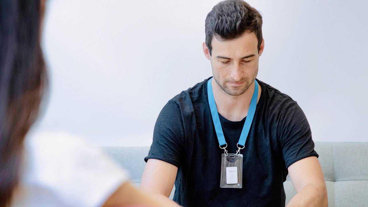 """The centrepiece of Kinexon's """"SafeZone"""" is a small white box equipped with a sensor that can be worn on the body in the form of so-called wearables - as a bracelet, clip or lanyard."""