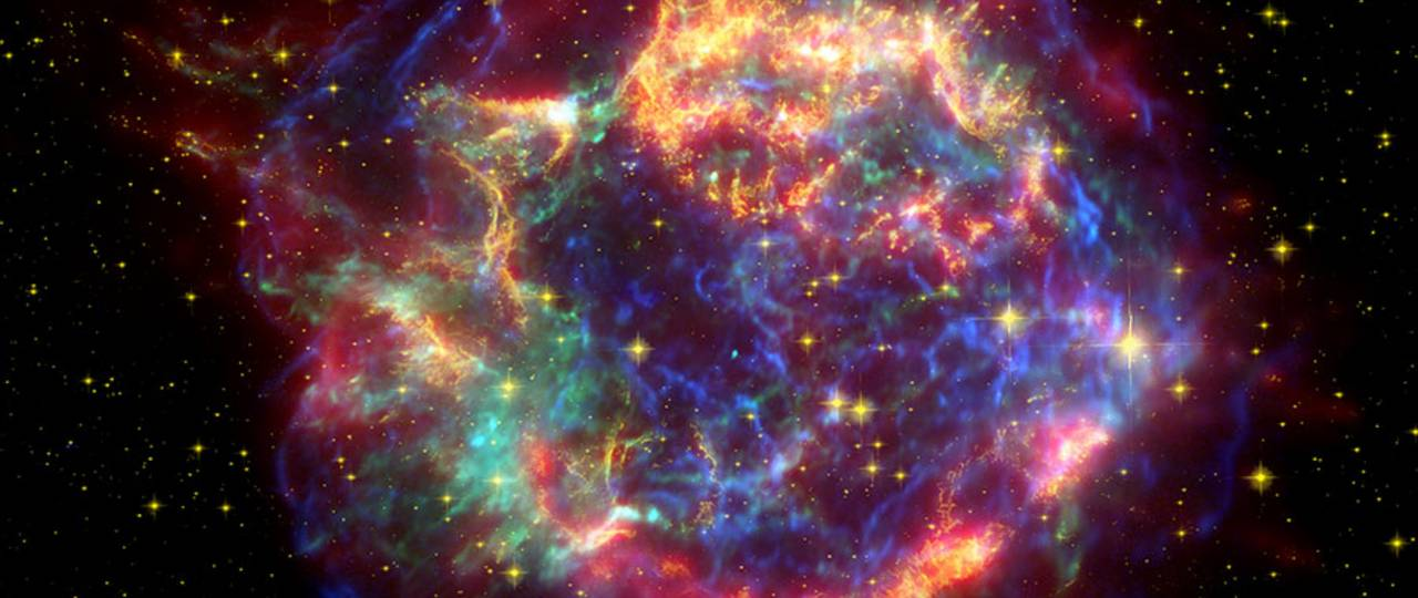 Cassiopeia A: Remnants of a supernova in the constellation Cassiopeia, about 11,000 light-years away. The stellar explosion took place about 330 years ago.