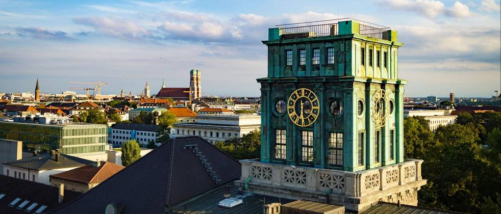 Clock tower of TUM with southward view over Munich
