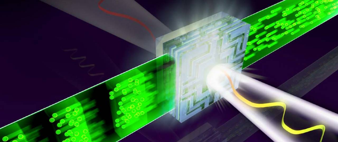 Illustration of the basic building block of future lightwave electronics: a nanometer-scale dielectric switching circuit driven by visible light. – Illustration: Dr. Christian Hackenberger, LMU Muenchen