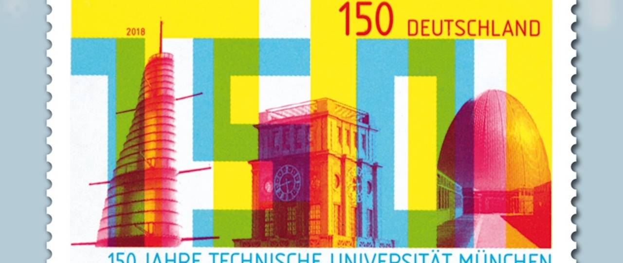 The postage stamp depicts the Oskar von Miller Tower, the Thiersch Tower, and the Atomic Egg.