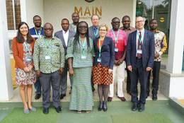 Empfang der TUM Delegation durch Pro Vice-Chancellor der KNUST, Professor Mrs. Rita Akosua Dickson. (Bild: TUM International Center)