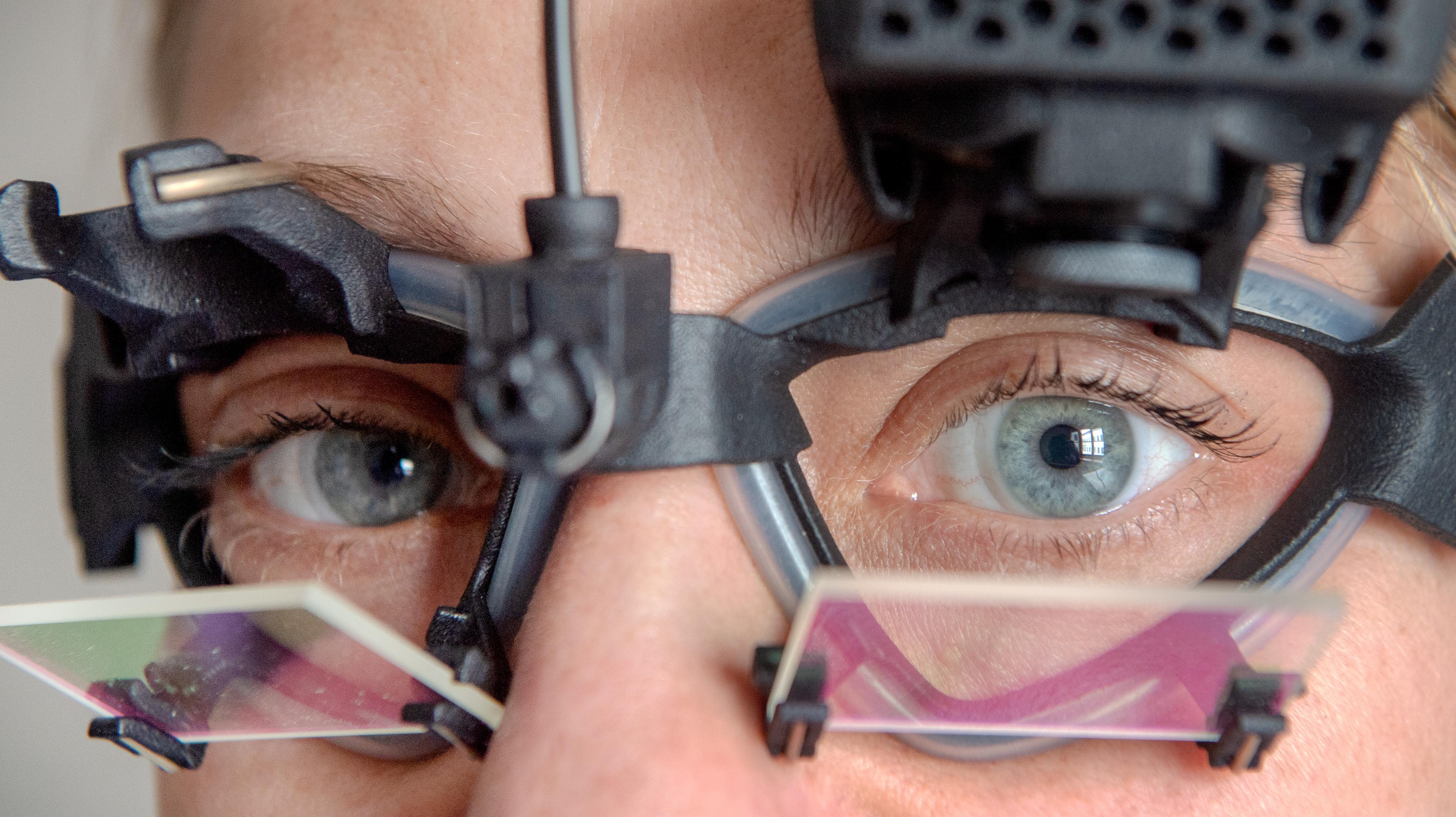 With the help of special glasses, the scientists are able to record the head and eye movements of the participants.
