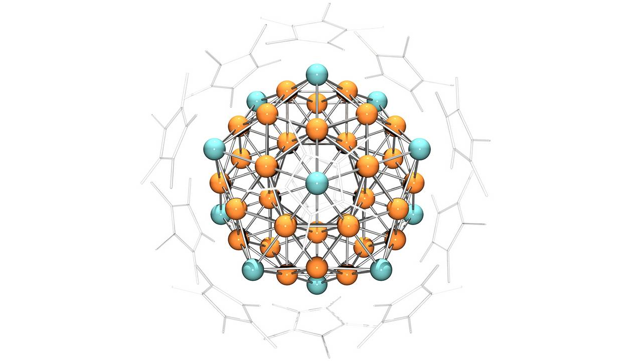 """Superatom"" comprising 43 copper and 12 aluminum atoms surrounded by cyclopentatienyl ligands."
