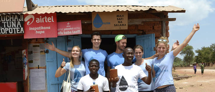 The water filter team of Enactus in Tanzania.