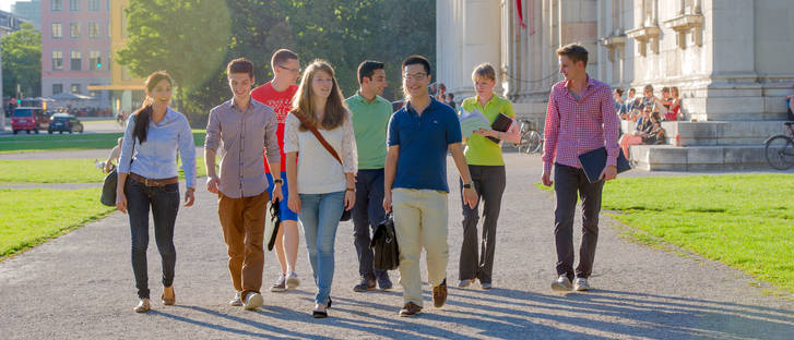 International students on their way to the course
