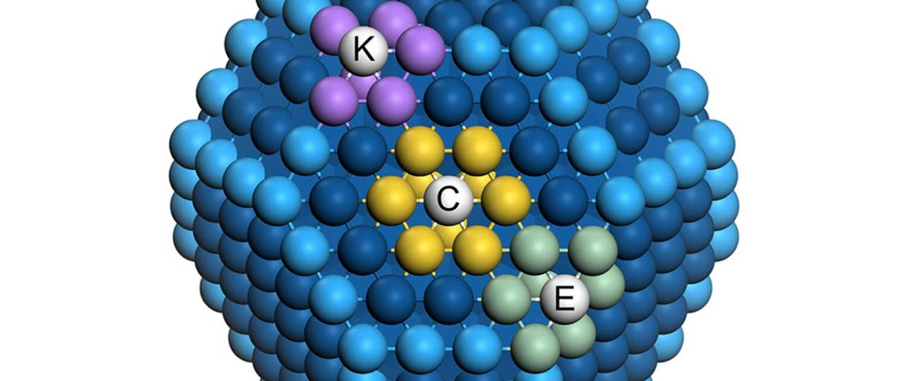 The different number of similar neighbors has an important influence on the catalytic activity of surface atoms of a nanoparticle – Image: David Loffreda, CNRS, Lyon
