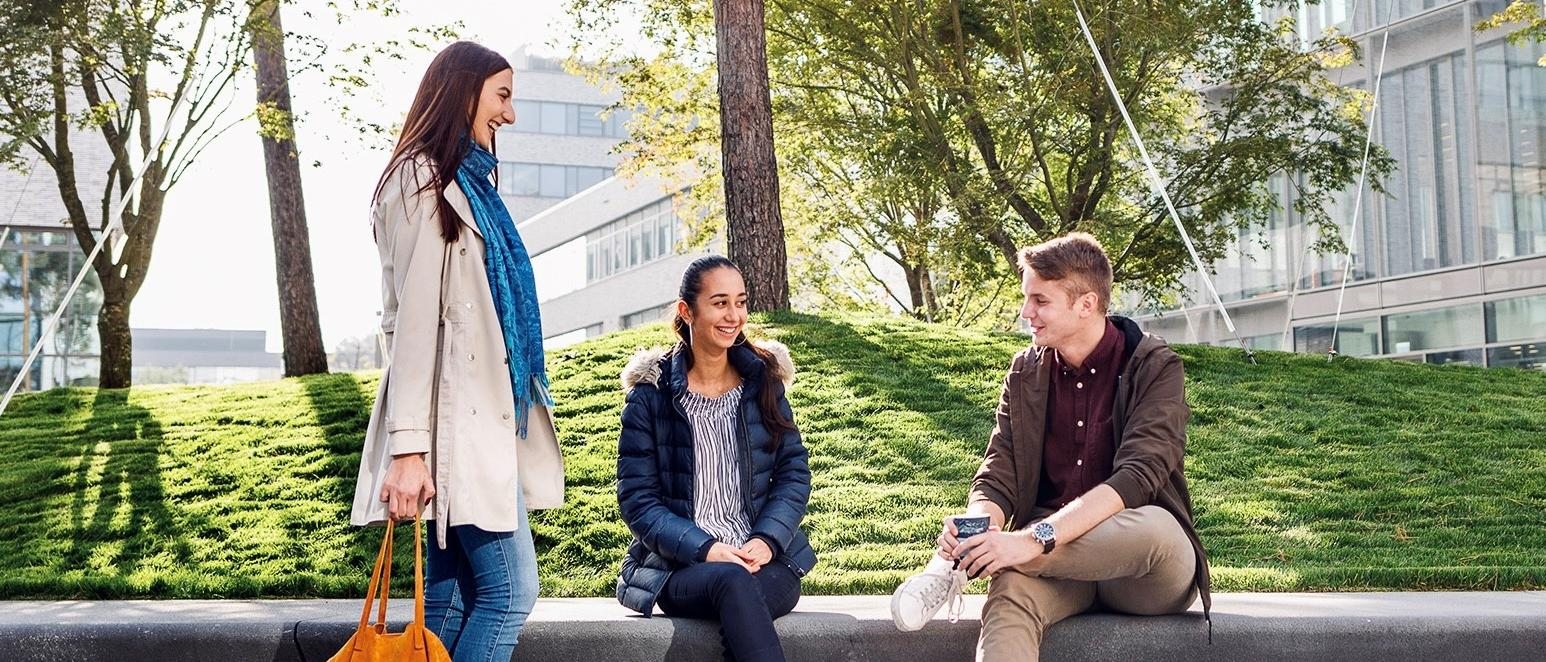 Three students at a bench on TUM's Heilbronn campus