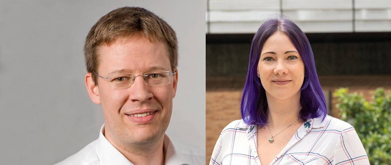 """Prof. Heiko Briesen and Johanna Baehr receive the """"Bavarian Prize for Excellence in Teaching"""" at state universities in Bavaria."""