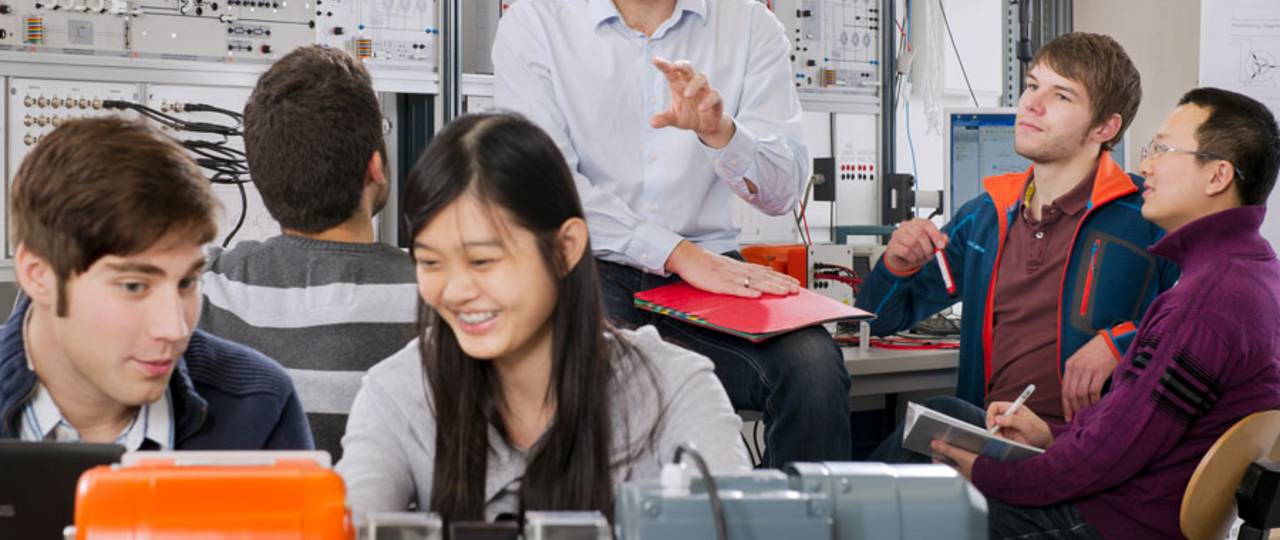 Students in electrical engineering