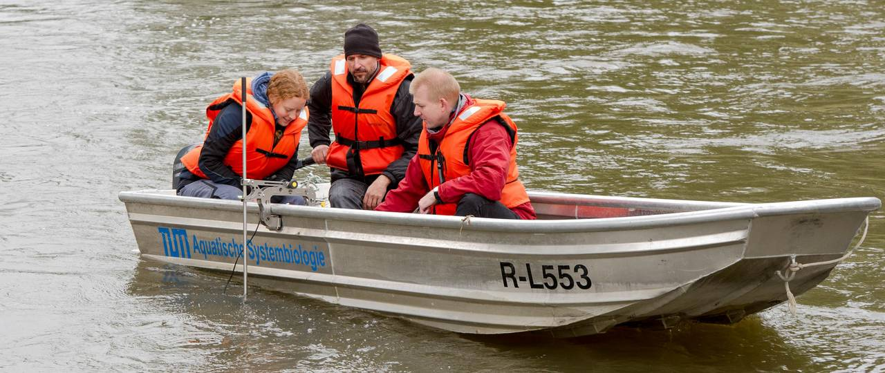 Prof. Geist, Dr. Pander and Dr. Müller (l.t.r.) using side-sonar to cartograph the habitat of the fish