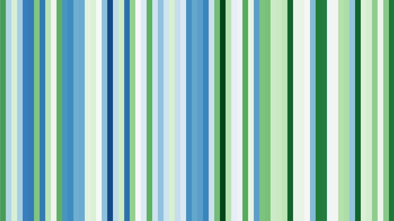 Green warming stripes for first spring (forsythia flowering) in Bavaria, Germany (1951-2020)