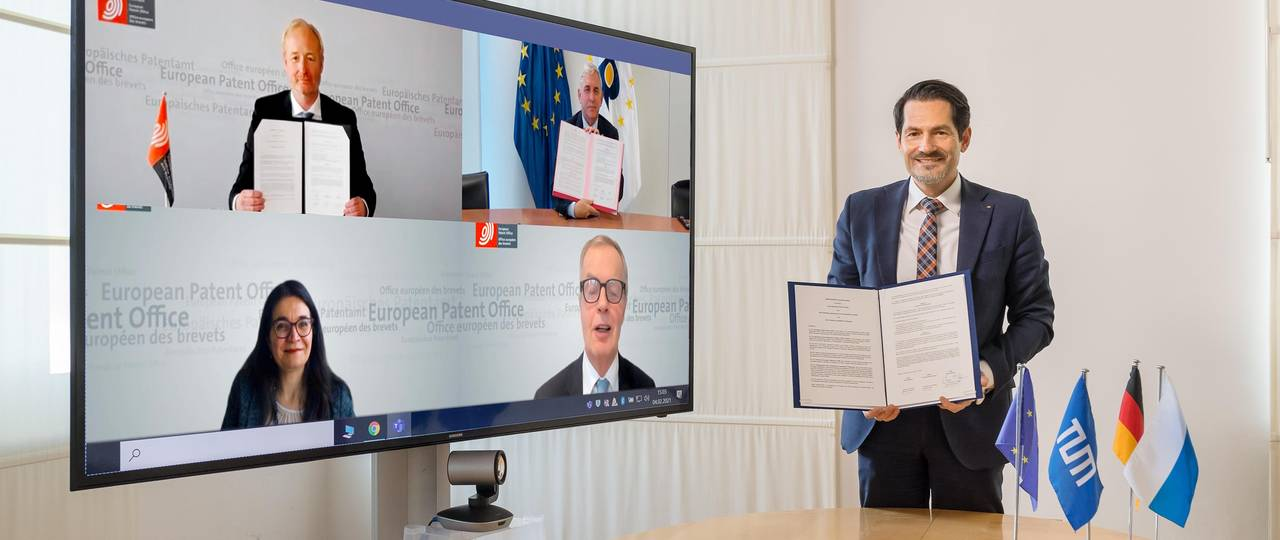 TUM president Thomas F. Hofmann at the virtual signing ceremony