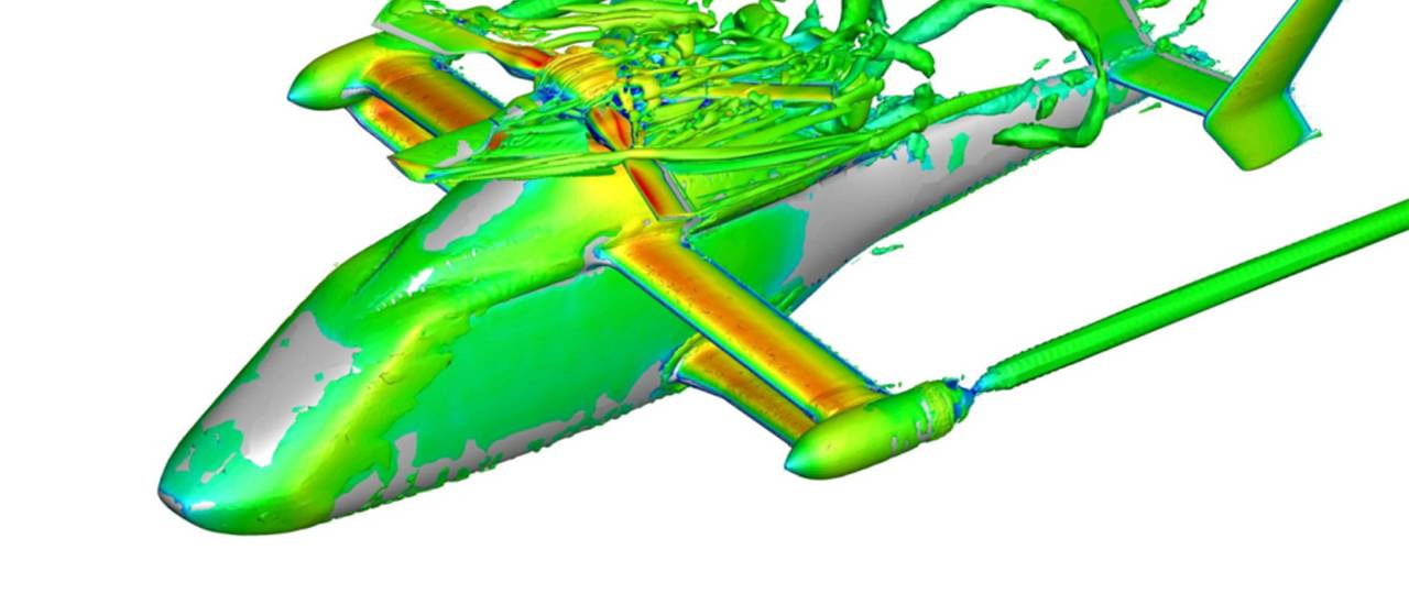 Visualization of turbulent structures in the vicinity of the rotor head.