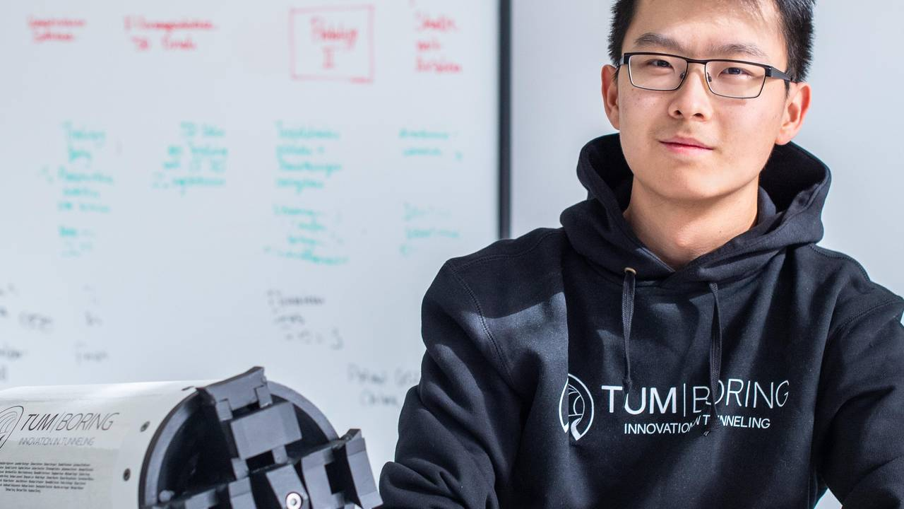 Informatics student Haokun Zheng is one of the team leaders at TUM Boring.