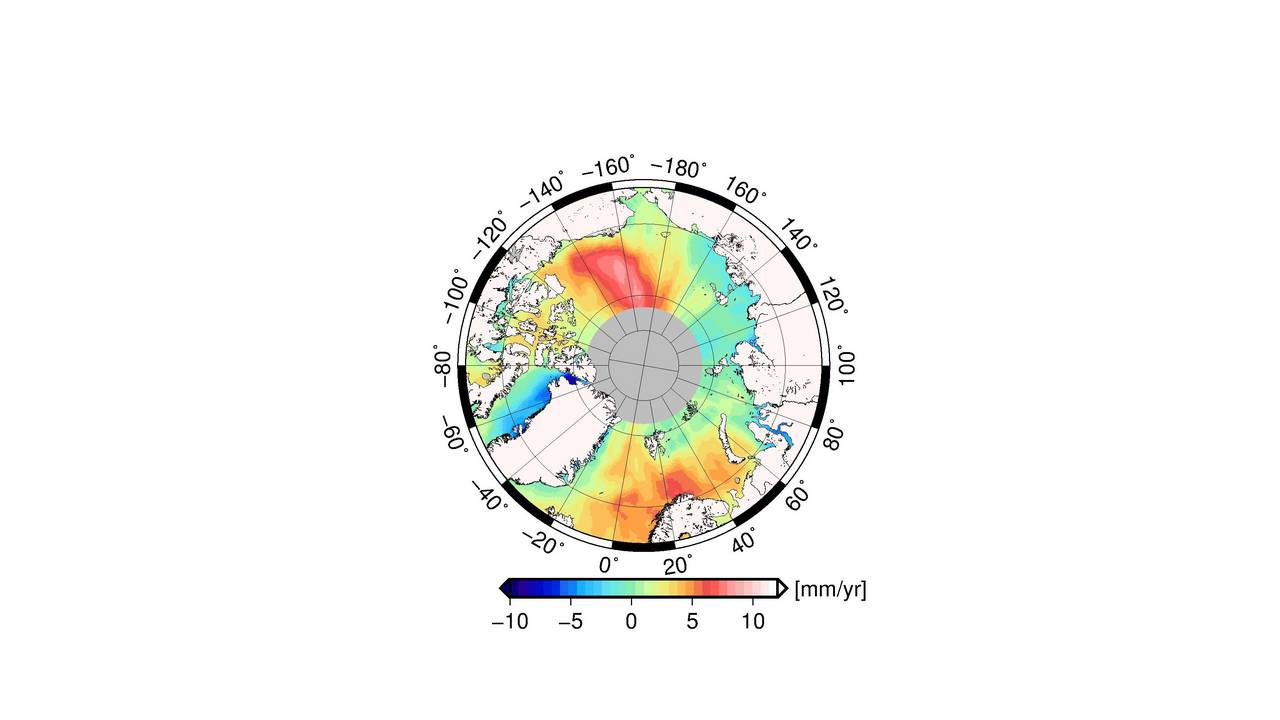 The map illustrates that the average change in the Arctic sea level varies regionally.
