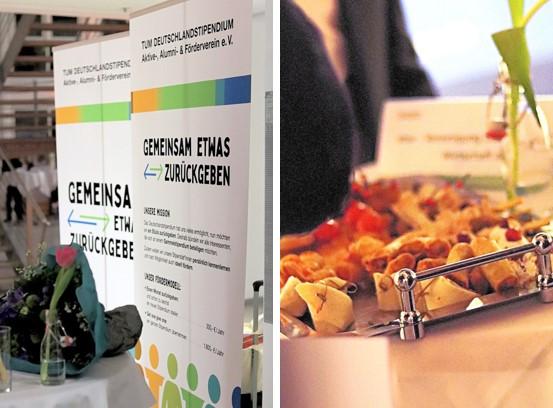"""Aufsteller """"Alumni Verein"""" links, Tablett mit Fingerfood rechts"""