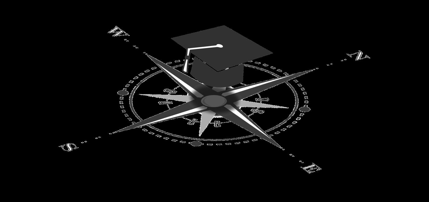 Grafik mit einem Doktorhut, der über einer Windrose schwebt.