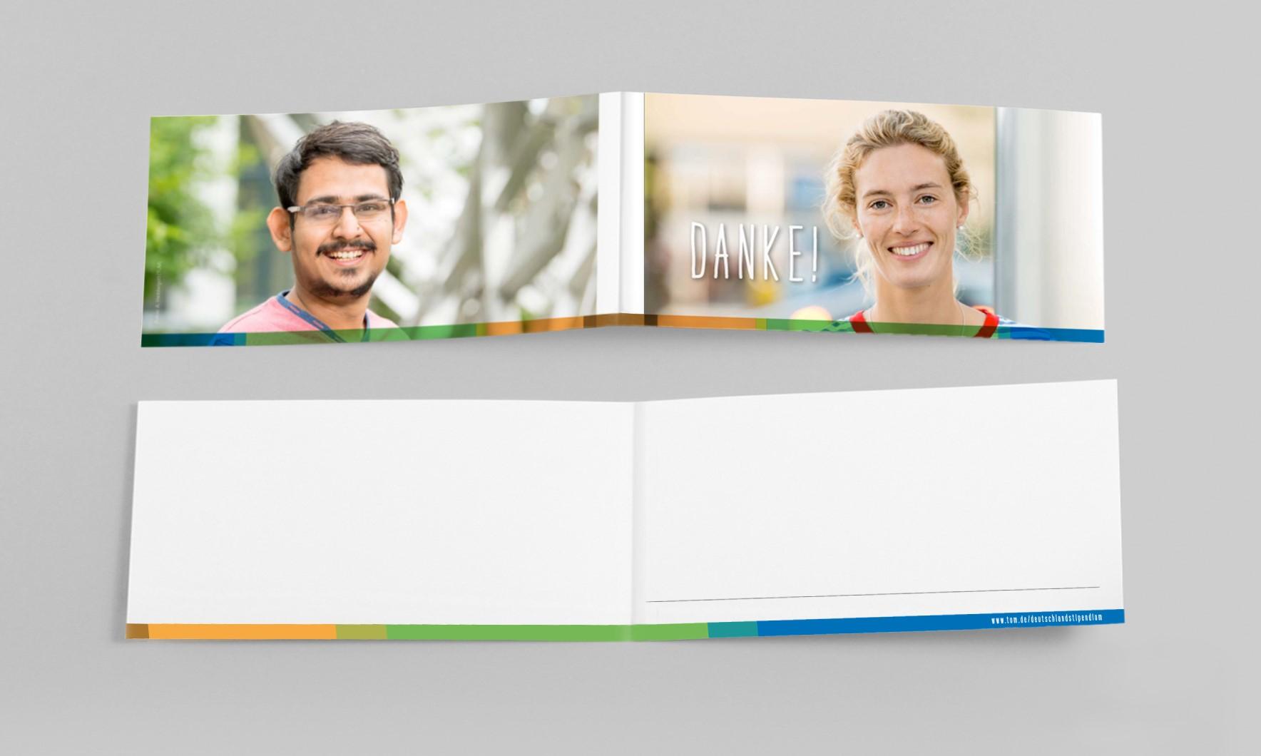Umschlag- und Innenseite der Dankeskarte