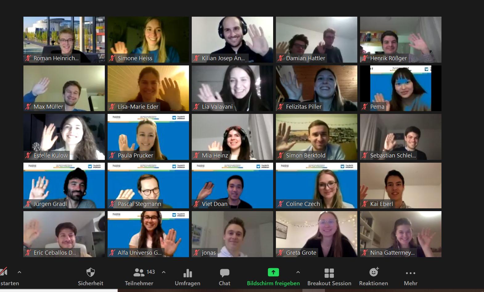 Screenshot mit zugeschalteten Teilnehmern der Auftaktveranstaltung