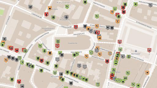 Markierte Orte auf wheelmap.org nach der Aktion