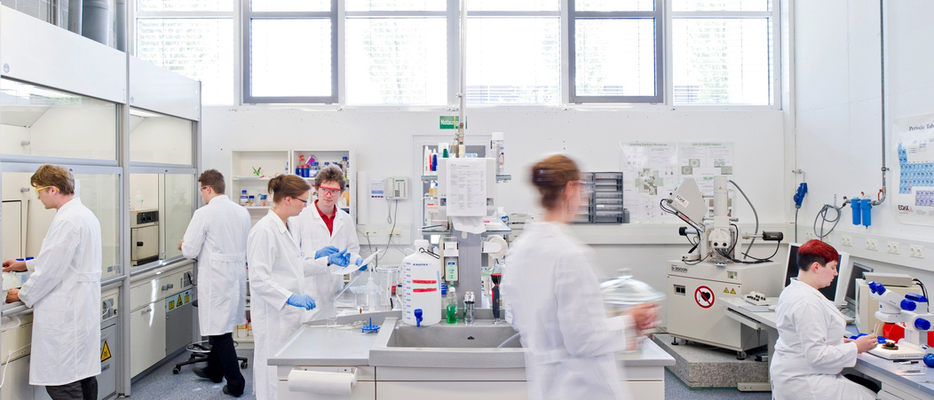Several people are working in a laboratory