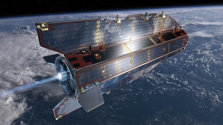 The ESA satellite GOCE in orbit around earth.