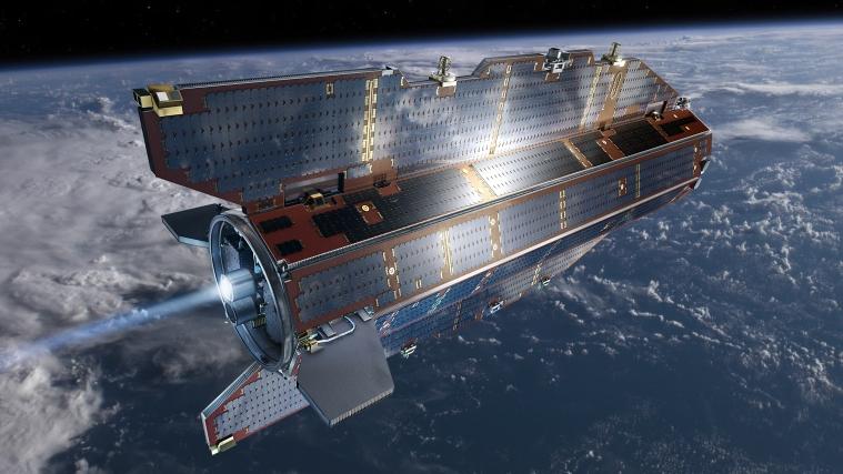 Der ESA-Satellit GOCE in der Erdumlaufbahn