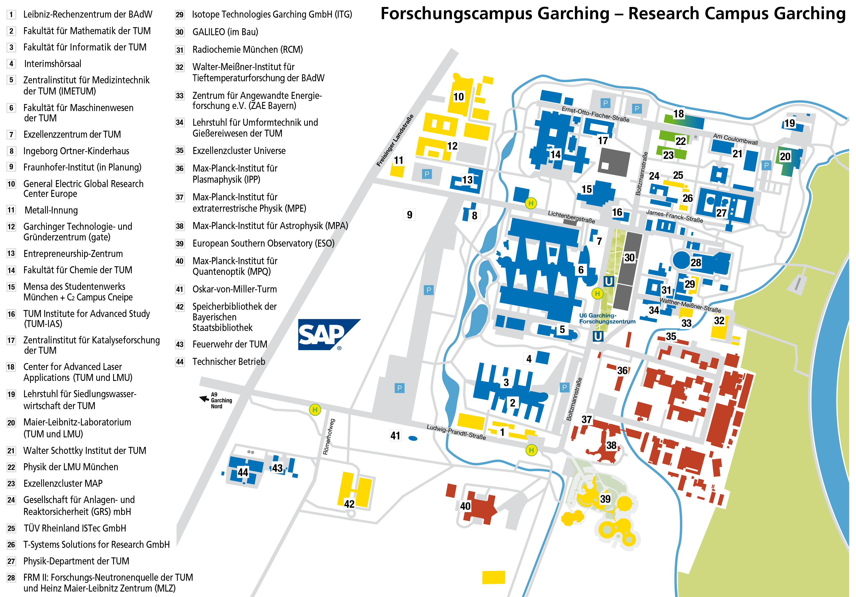 Location of the planned new building on the Garching campus.