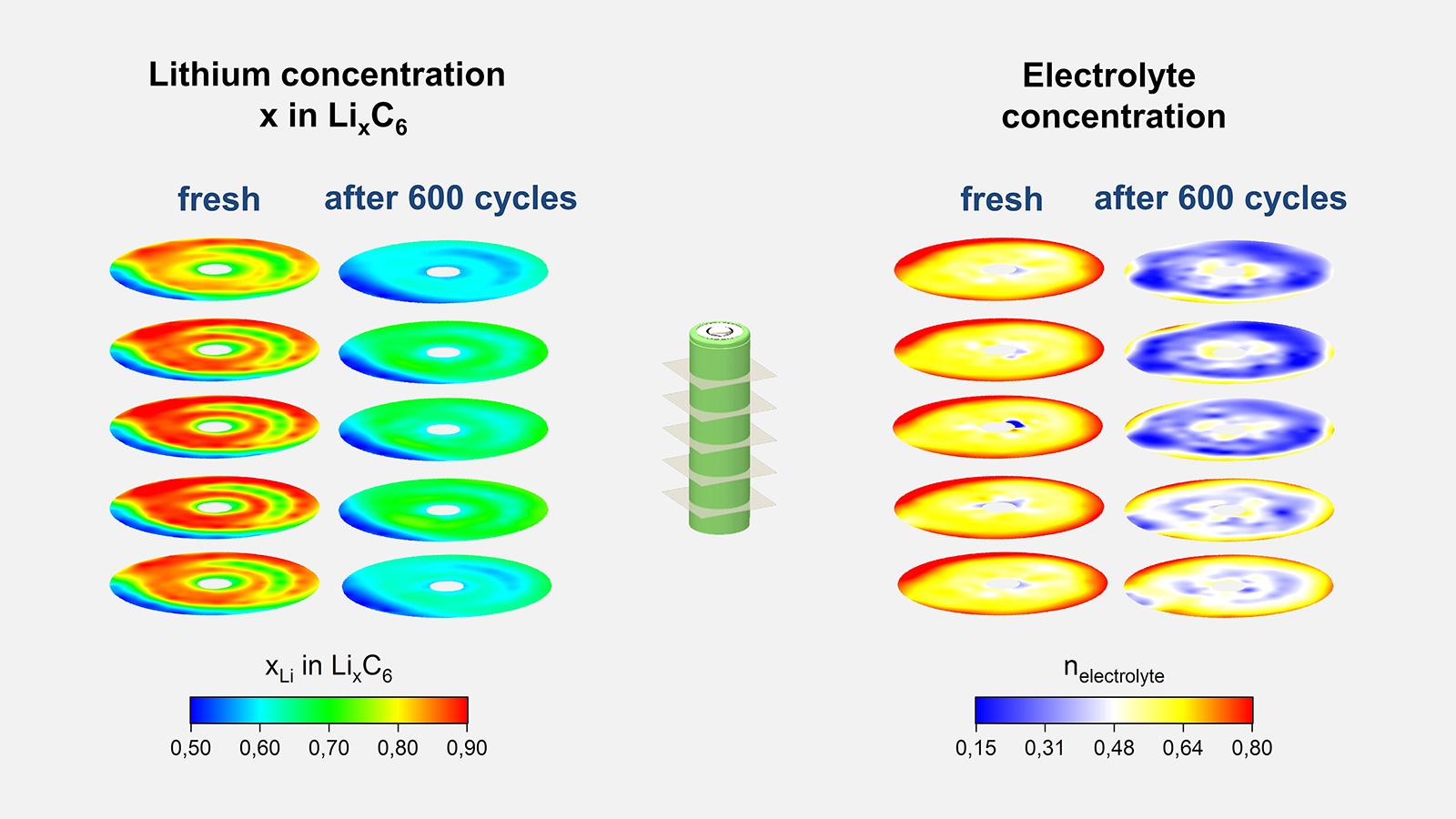 Farblich gekennzeichnete Konzentration von Lithium (links) und Elektrolyt (rechts) in einer frischen und einer gealterten (600 Lade- bzw. Entladezyklen) Lithium-Ionen Zelle