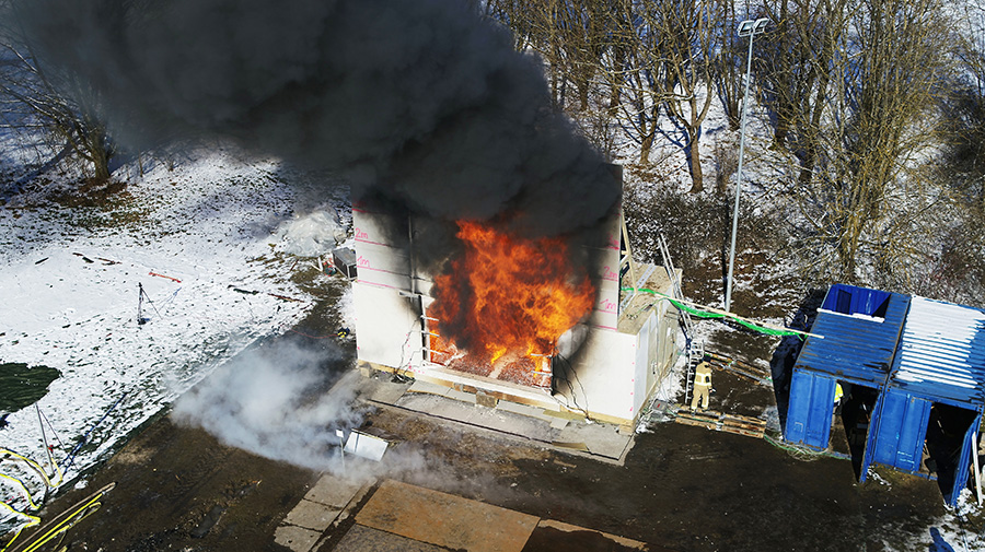 Researchers conduct large-scale fire tests here.