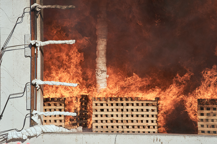 With a fire duration of two hours, about six tons of the wooden cribs and components burned.