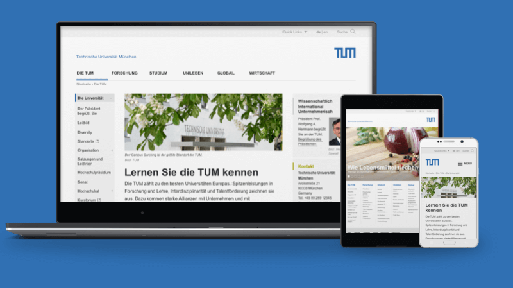The TUM website on various devices