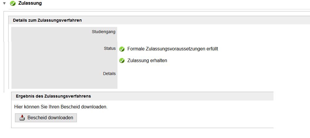 Screenshot TUMonline: Zulassung