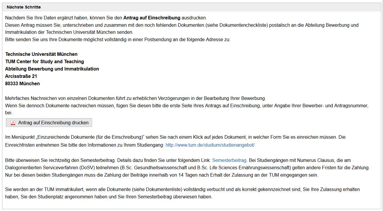 Screenshot TUMonline: Antrag auf Einschreibung