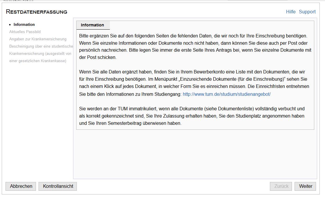 Screenshot TUMonline: Restdatenerfassung