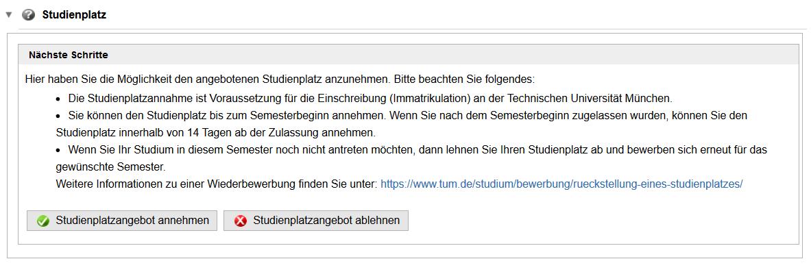 Screenshot TUMonline: Studienplatz annehmen