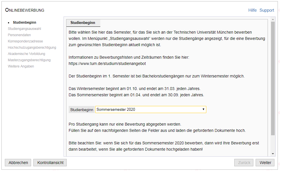 Onlinebewerbung Status Bewerbung Tum 11